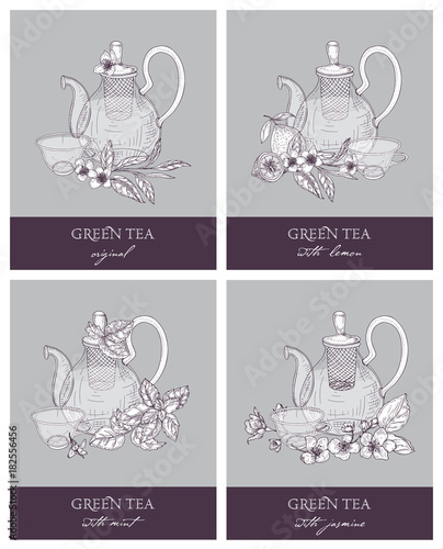 Bundle Of Gorgeous Outline Drawings Of Teapot Cup Green Tea Leaves Flowers Lemon Mint And Jasmine Set Of Delicious Naturally Flavored Beverages Vector Illustration In Retro Etching Style Buy This Stock