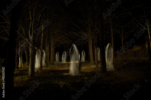 Ghost family in the dark forest Canvas Print