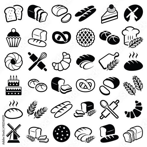 Fotografie, Obraz  Bakery icon collection - vector outline illustration and silhouette