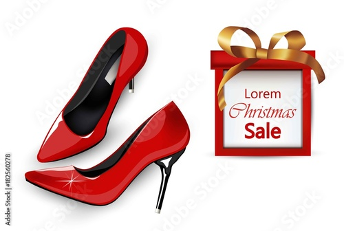 Red Stiletto shoes with Christmas gift box. Vector realistic ...