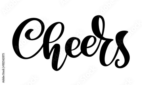 Fotografía  Hand drawn text Cheers lettering banner