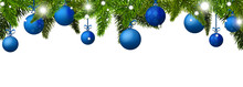New Year Banner With Blue Christmas Balls. Vector Illustration