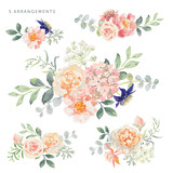 Fototapeta Kwiaty - Set of the floral arrangements. Pink roses and peonies with leaves. Vector illustration. Romantic garden flowers.