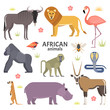 Vector illustration of African animals and birds: hippopotamus, lion, gorilla, baboon, flamingos, cobra, wildebeest, oryx antelope, meerkat, isolated on white background.