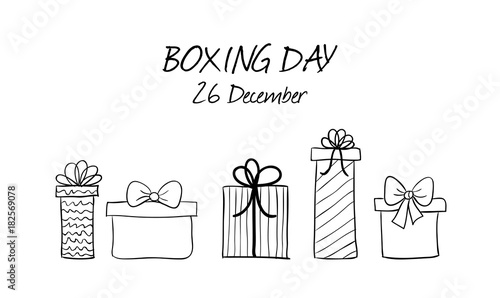 Deurstickers Kerstmis Boxing day hand drawn vector banner