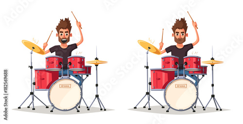 Photo Drummer. Rock music. Cartoon vector illustration.