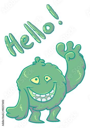 Aluminium Prints Creatures Green funny fluffy monster say Hello