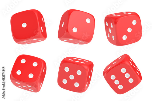 Foto 3d rendering of a set of six red dice with white dots hanging in half turn showing different numbers