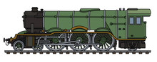 Retro Green Steam Locomotive