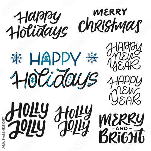 A bundle of different lettering and calligraphy phrases on Christmas ...