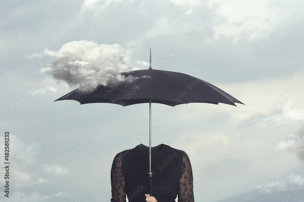 surreal moment of a cloud caressing the umbrella of a headless woman - obrazy, fototapety, plakaty