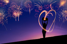 Fireworks Heart With Woman Sil...