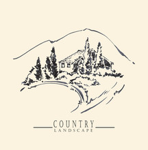 Country Landscape. Ink And Pen Hand Drawing.