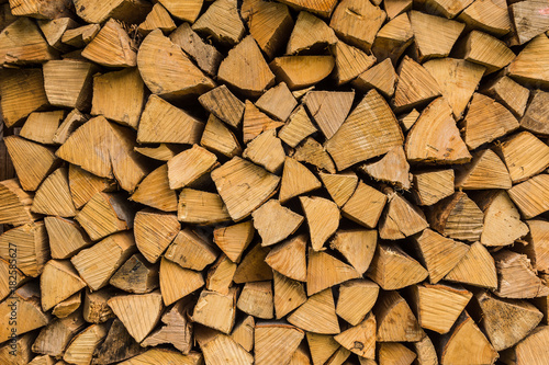 Deurstickers Brandhout textuur Brennholz gestapelt