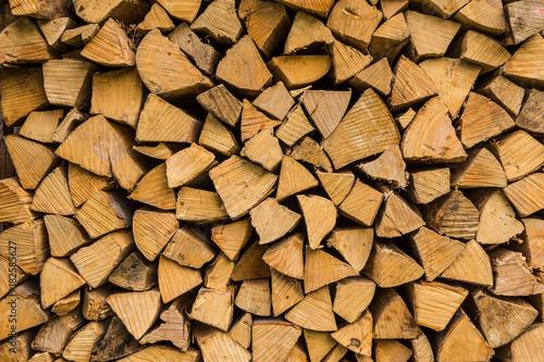 Foto op Aluminium Brandhout textuur Brennholz gestapelt