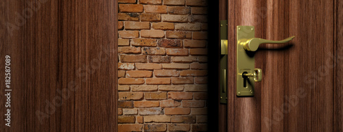 Brick wall out of an open wooden door with bronze handle and key, 3d illustratio Wallpaper Mural