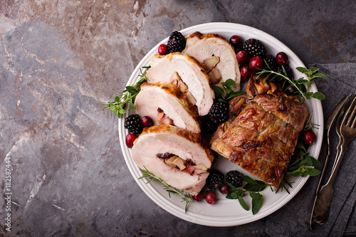 Roasted pork loin stuffed with apple and cranberry Wallpaper Mural