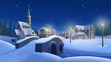 Christmas Town Background 2. Small Town With River,  Church, Houses Decorated With Festive Lights.