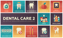 Dental Care - Set Of Flat Desi...