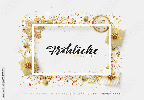 german text frohliche weihnachten christmas bright background with golden xmas decorations merry christmas and