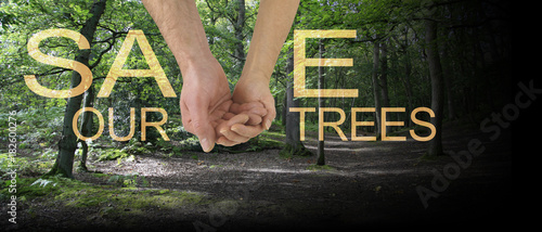 Photo Save our Trees Banner - male hand cupped in female hand making the V of SAVE on