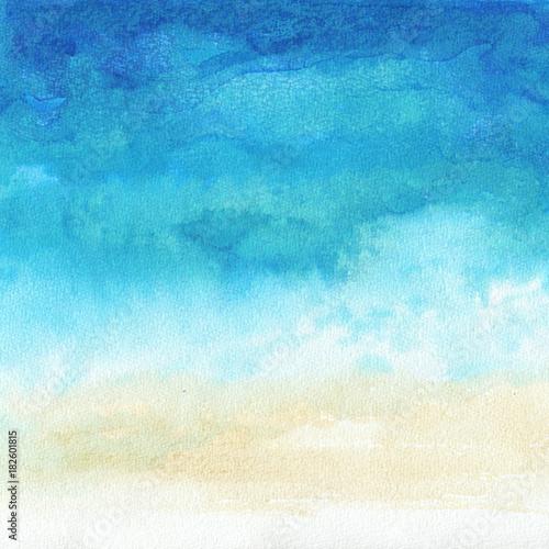 Stickers pour portes Eau Ocean watercolor hand painting illustration.