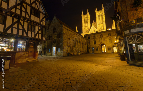 Photo  Medieval Part of Lincoln by night, Bailgate and Exchequer Gate Street Crossing,