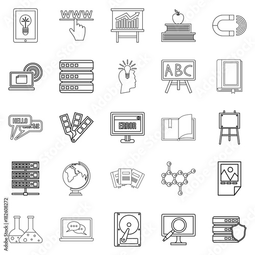 Journal icons set, outline style Poster Mural XXL