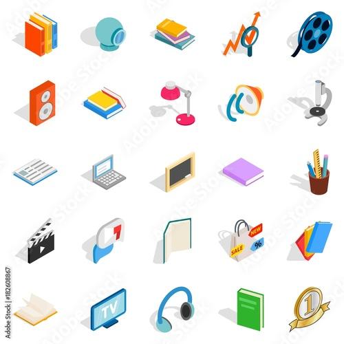 Brochure icons set, isometric style Tableau sur Toile