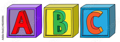 Photo Colorful alphabet A B C letters on cube blocks in horizontal position