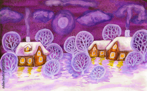 Foto op Aluminium Snoeien Winter landscape in violet colours, painting