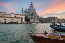 Basilica Santa Maria Della Salute And Grand Canal In Venice