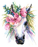 Unicorn watercolor illustration. - 182615034