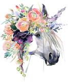 Unicorn watercolor illustration. - 182615052