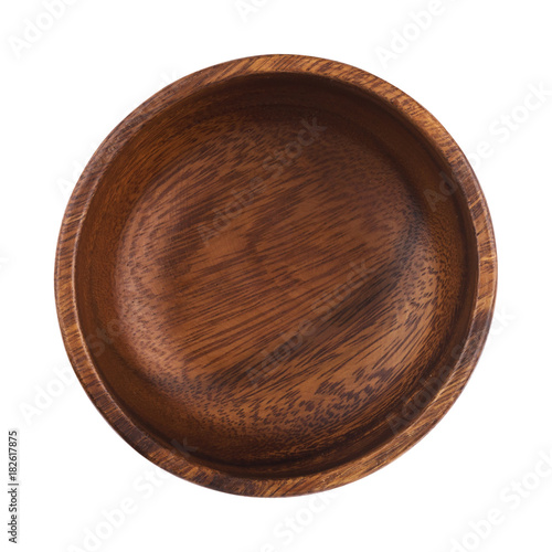 Photo  Empty wooden bowl isolated on white background. Top view