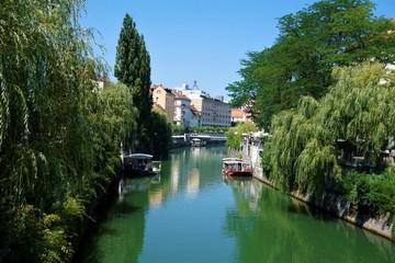 Fototapeta na wymiar Blick über die ruhige Ljubljanica zur Innenstadt von Ljubljana