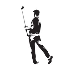Golf Player Watching Ball After Golf Swing With His Driver. Abstract Isolated Vector Silhouette