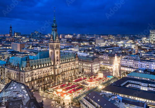 Fotografía Christmas city panorama of Hamburg