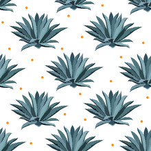 Blue Agave Vector Seamless Pat...