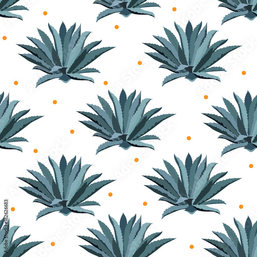 Photo Blue agave vector seamless pattern