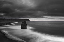 Reynisfjara Black Sand Beach In Iceland, Black And White