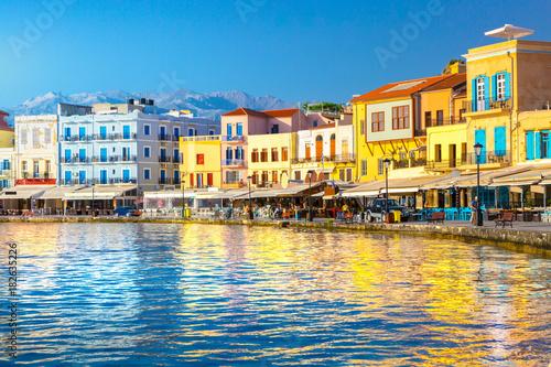 Fényképezés View of the old port of Chania, Crete, Greece.
