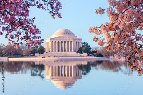 Fotobehang Kersenbloesem Beautiful early morning Jefferson Memorial with cherry blossoms
