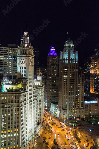 a3bd529c741 Chicago skyline at night during rush hour - Buy this stock photo and ...