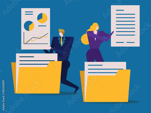 Business people is folding and sorting documents or into folders Wallpaper Mural