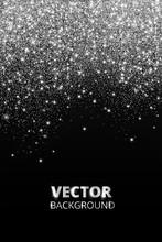 Falling Glitter Confetti. Vector Silver Dust, Explosion On Black Background. Sparkling Glitter Border, Festive Frame.