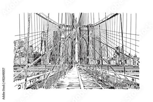 Tuinposter Art Studio New York. USA. Hand drawn city sketch. Vector illustration.