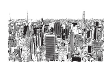 FototapetaSketch illustration of New York City, USA in vector.
