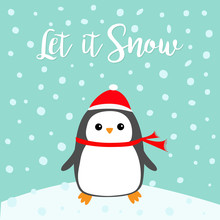 Let It Snow. Kawaii Penguin Bi...