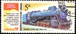 Old postage stamp shows soviet retro locomotive, locomotive monument series, printed in USSR in 1982